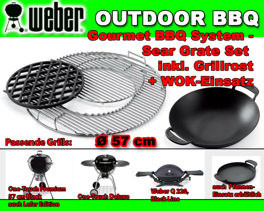 weber 7420 7422 gourmet bbq system sear grate set grillrost wok einsatz ebay. Black Bedroom Furniture Sets. Home Design Ideas