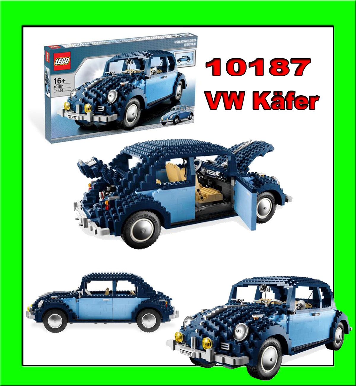 lego exclusive set 10187 vw k fer 1626 tlg rar beetle ebay. Black Bedroom Furniture Sets. Home Design Ideas