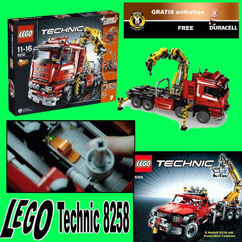 neuf lego technic 8258 camion grue duracell gratuite ebay. Black Bedroom Furniture Sets. Home Design Ideas