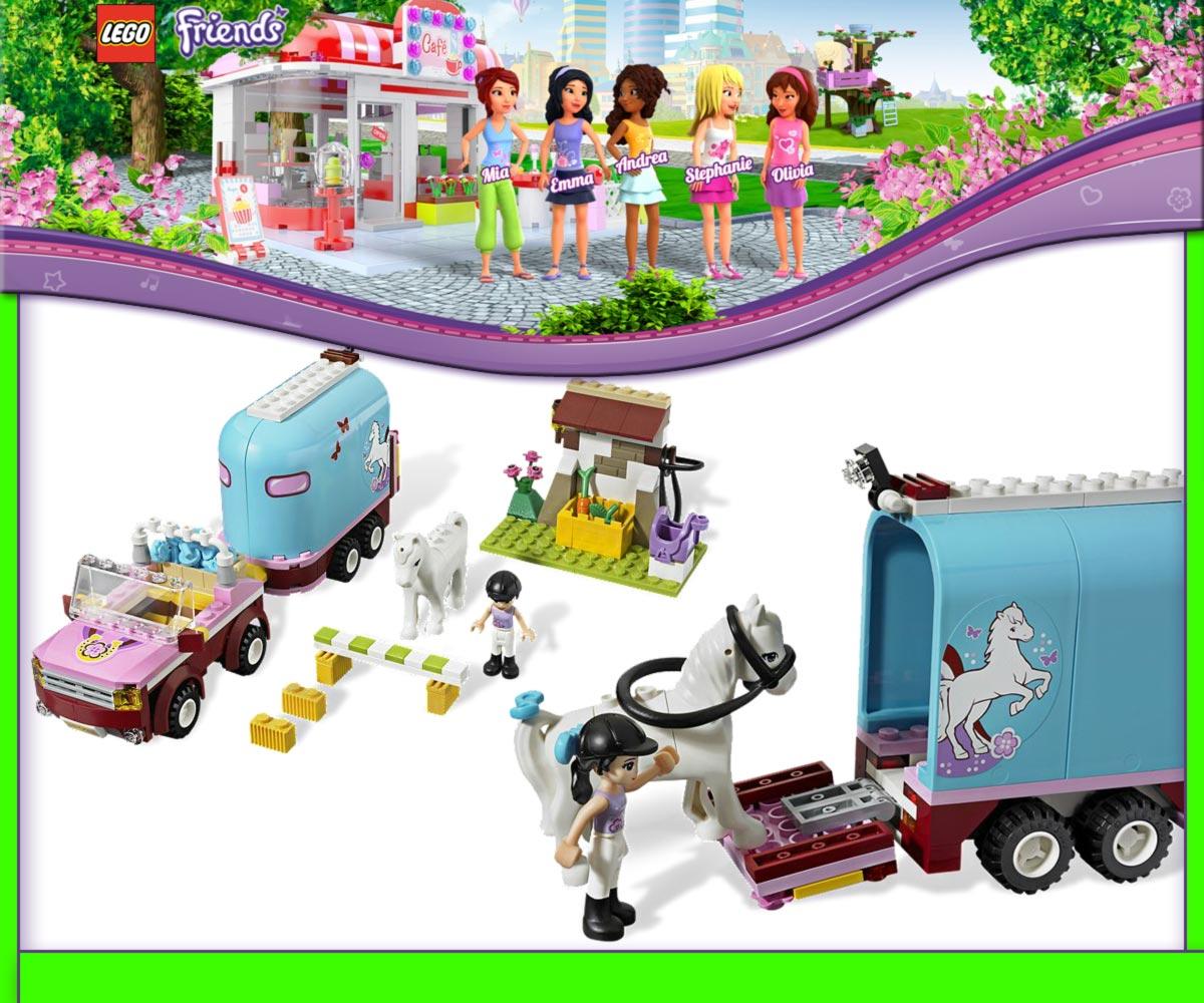 lego friends 3186 gel ndewagen mit pferdeanh nger neu lager bnisb at stock ebay. Black Bedroom Furniture Sets. Home Design Ideas
