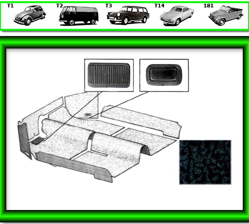 VW Käfer Innenraum Teppich # 530 für T1 857  768