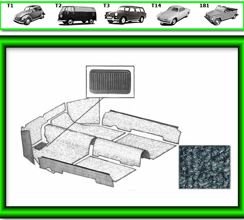 VW Käfer Innenraum Teppich # 534 für T1 872» grau von TMI
