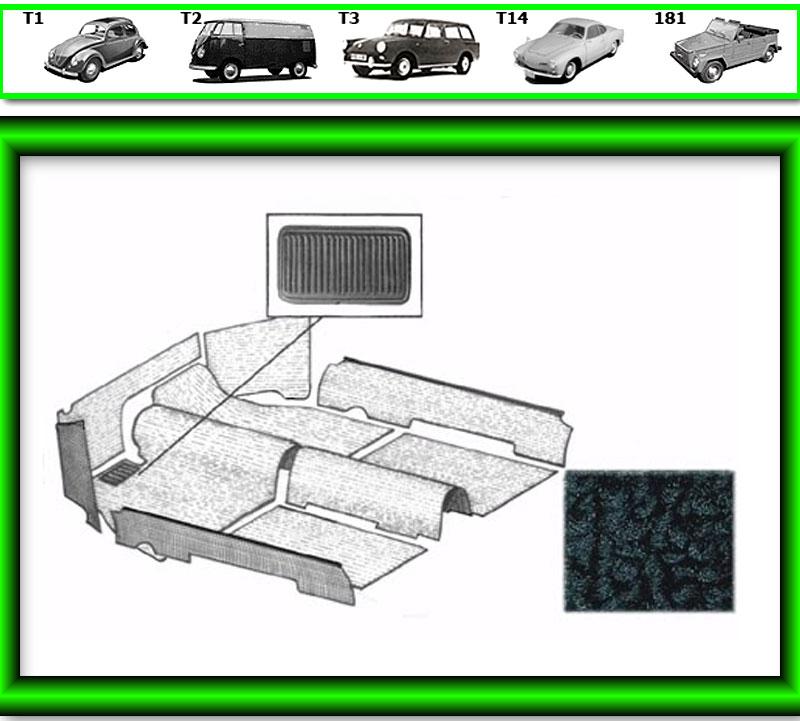 VW Käfer Innenraum Teppich # 537 für T1 1303 schwarz von