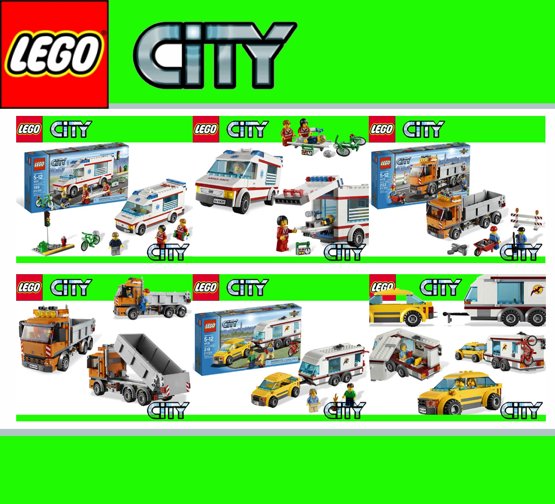 lego city super set 4431 krankenwagen 4434 kipplaster lkw. Black Bedroom Furniture Sets. Home Design Ideas