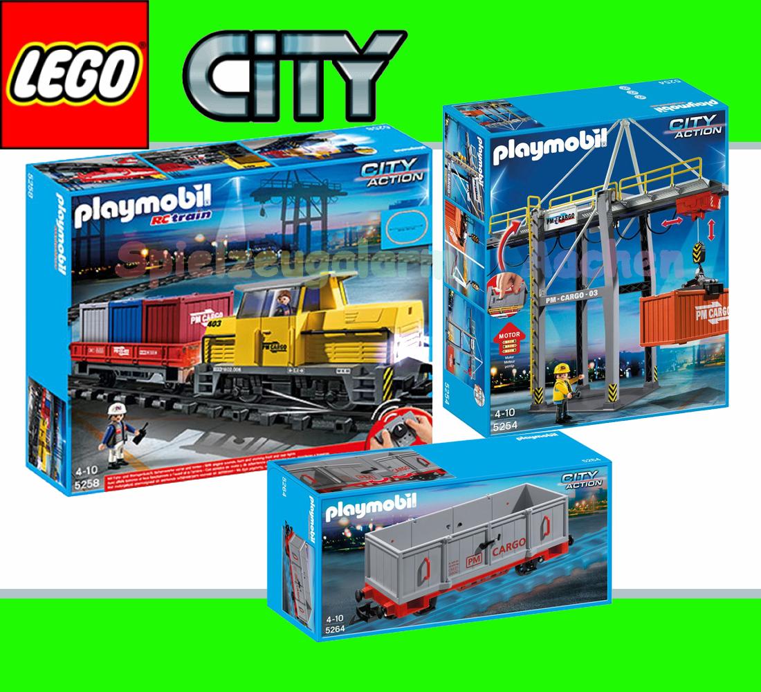 Playmobil set freight train rc electric terminal crane - Train playmobil ...