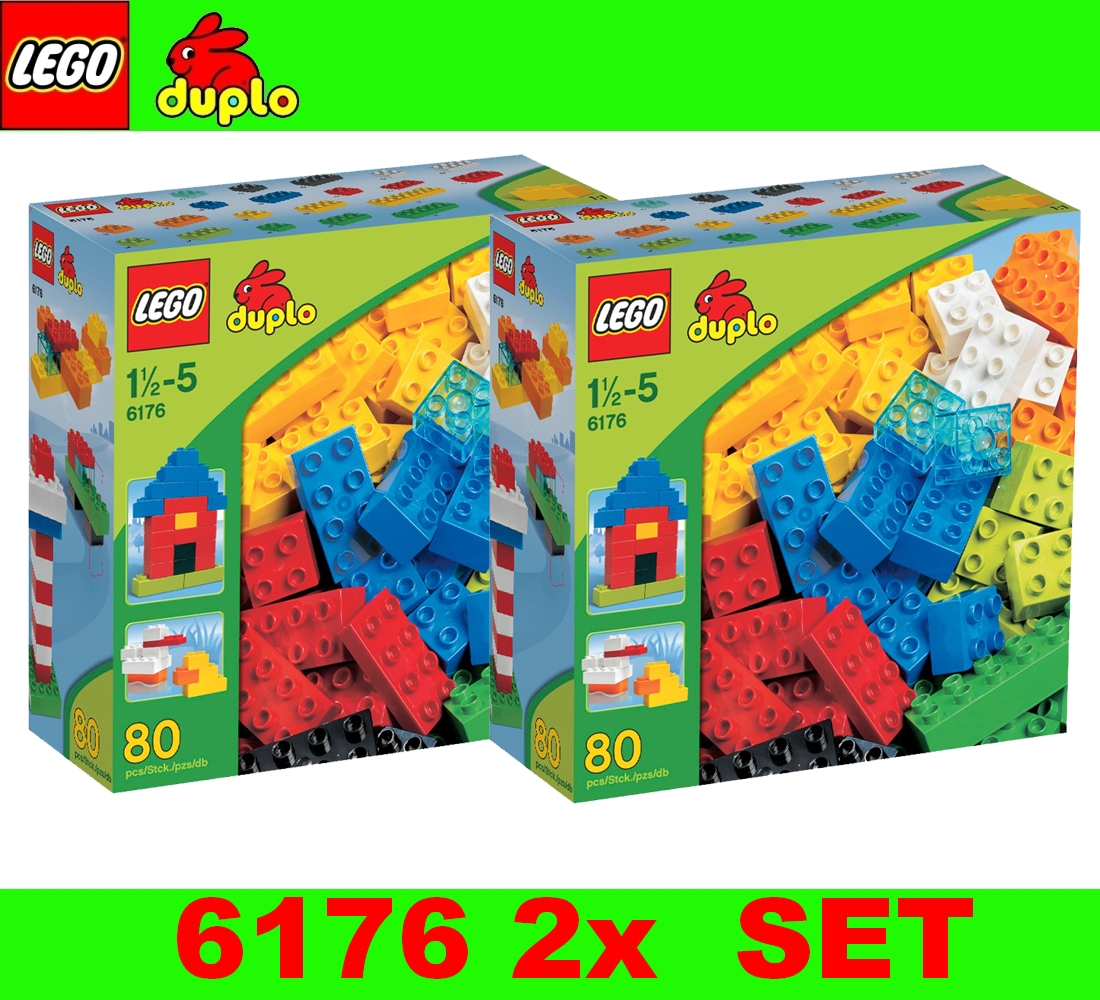 lego duplo 2 x set 6176 costruzioni di base deluxe 160 pezzi ebay. Black Bedroom Furniture Sets. Home Design Ideas