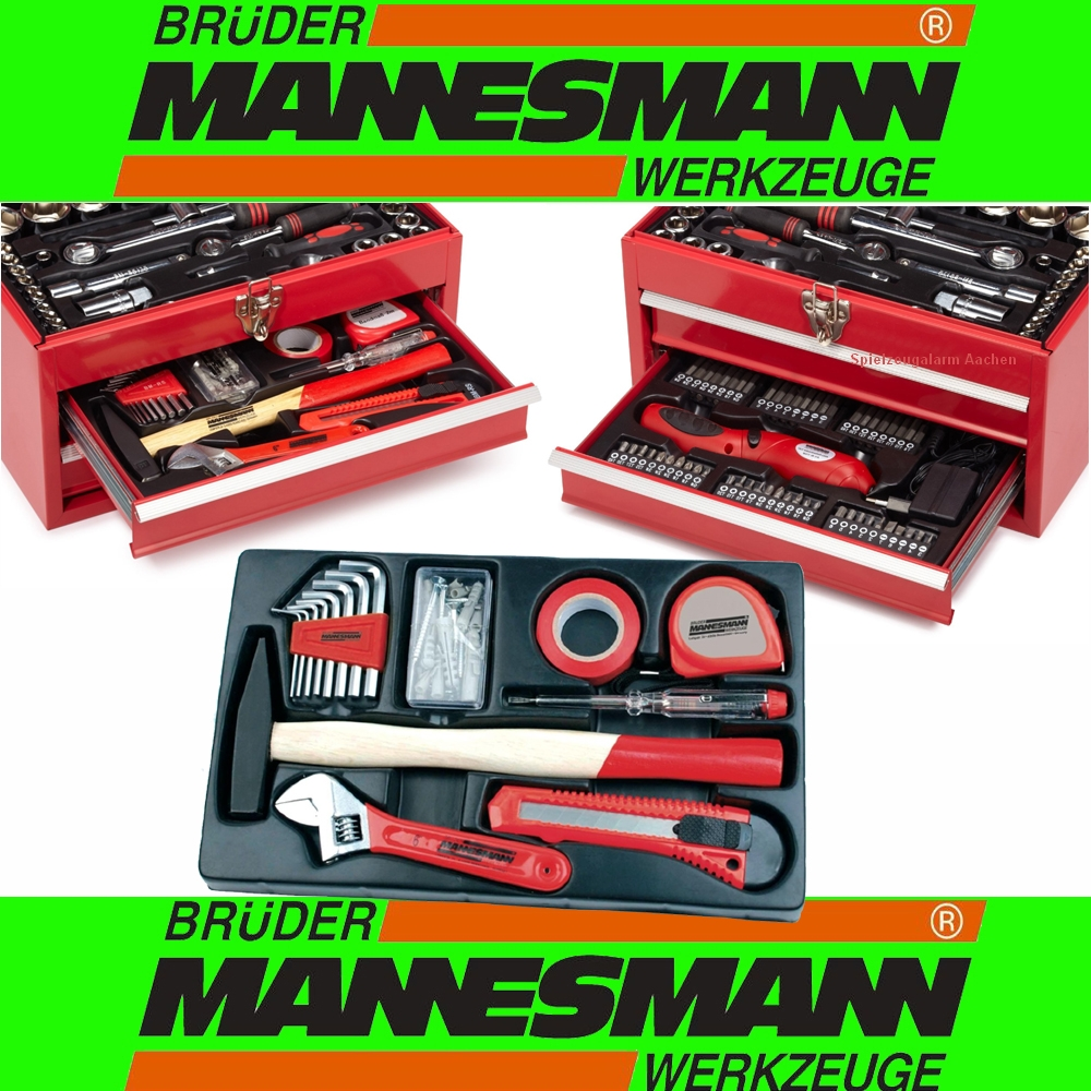 mannesmann m29066 werkzeugkoffer werkzeugkasten 155tlg mit 3 6v akkuschrauber ebay. Black Bedroom Furniture Sets. Home Design Ideas