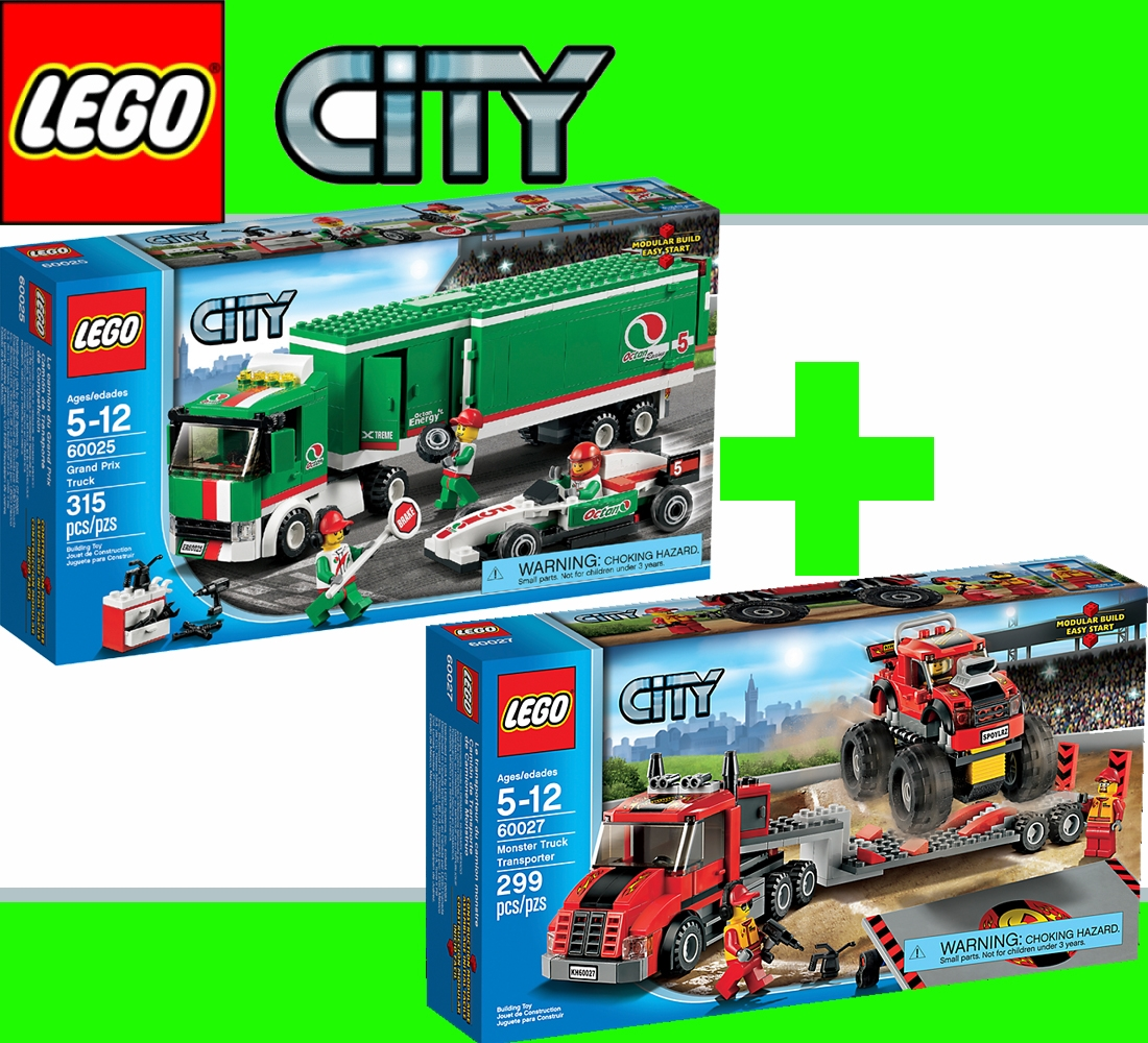 kit camion 60025 grand prix formule 1 60027 monster transporter lego city ebay. Black Bedroom Furniture Sets. Home Design Ideas