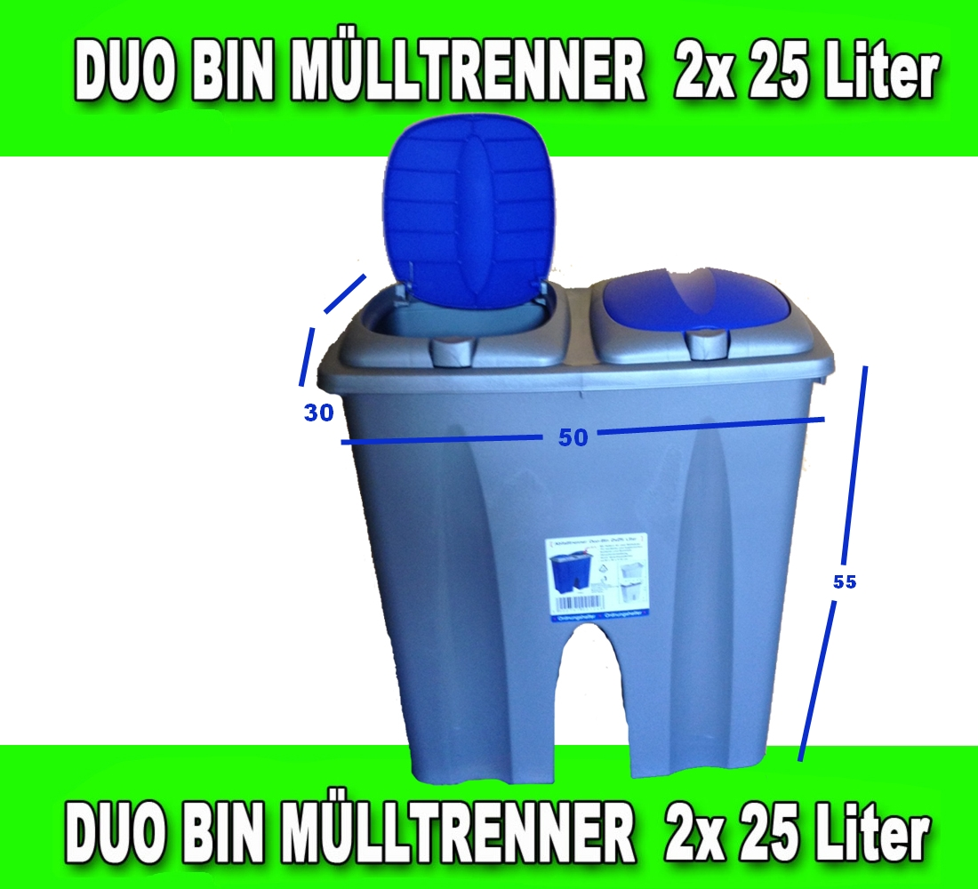 duo bin 50 l abfalleimer m lleimer abfallsammler duobin ebay. Black Bedroom Furniture Sets. Home Design Ideas