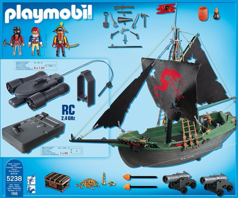PLAYMOBIL 5238 Pirate Vessel With RC Under Water Engine Remote Control ...