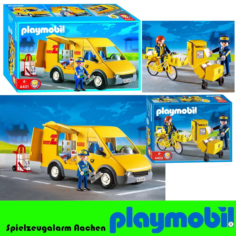 playmobil 4401 4403 dhl paketdienst postauto brieftr ger postboote fahrrad ebay. Black Bedroom Furniture Sets. Home Design Ideas