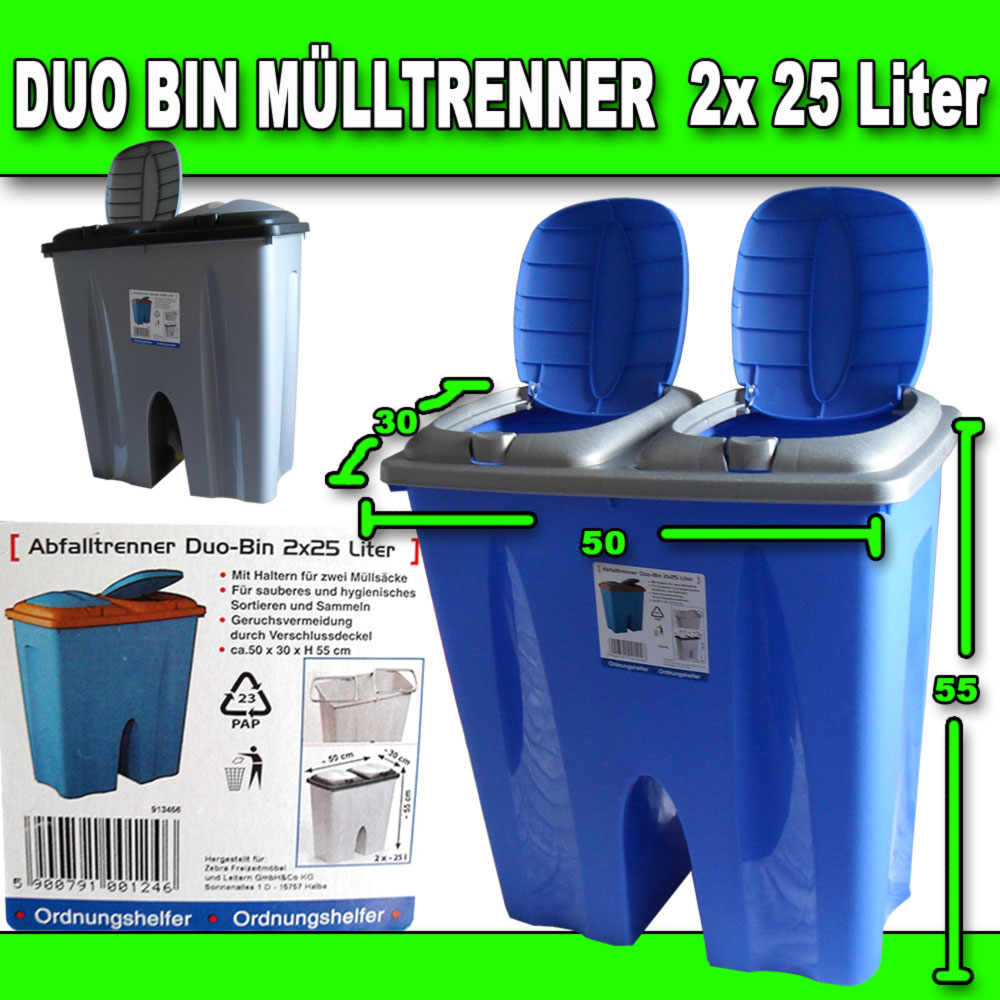 duobin xxl abfalleimer m lleimer abfallsammler 2x25 l ebay. Black Bedroom Furniture Sets. Home Design Ideas